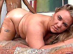 Mature fatty gets cum on large ass