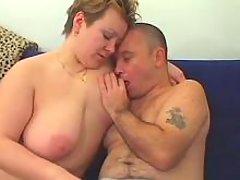 Playful chubby housewife sucks cock