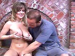 Man plays w big tits of sexy chick