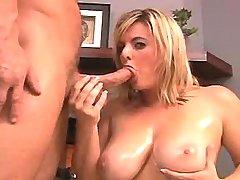 Busty plumper sucks cock of master