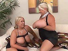 Big woman spoils busty plump girl