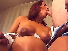 Pregnant wife sucking cock on sofa