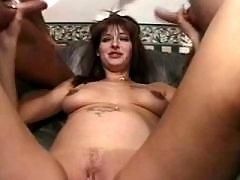 Pregnant milf sucks cocks in orgy