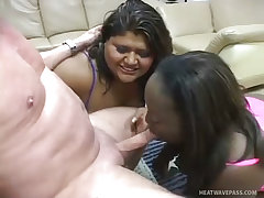 Latina jessica and ebony mad azz share a cum filled kiss