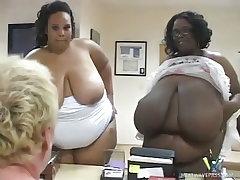 Ebony bbws alyze and ivy black slobber all over a pink cock