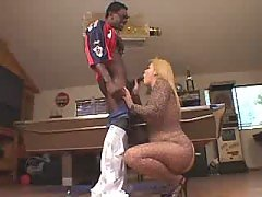 Paunchy blonde does perfect blowjob