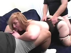 Plump lady makes sex with two dudes