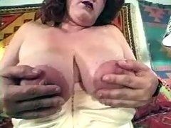 Depraved fatty mom plays with dildo